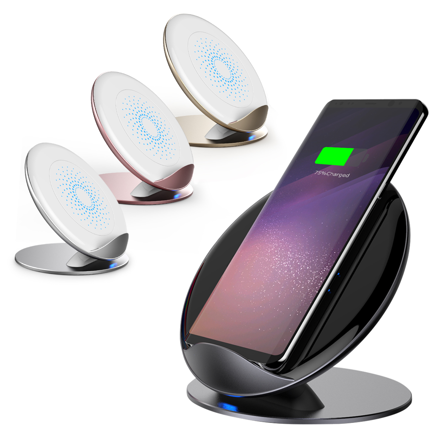 samsung qi induktive ladestation wireless charger f r galaxy s9 iphone 8 x plus ebay. Black Bedroom Furniture Sets. Home Design Ideas